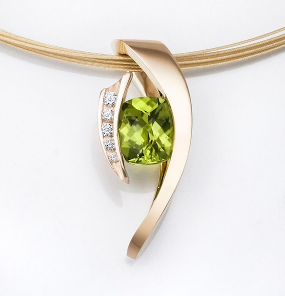 gold necklace - peridot pendant - 14k gold - August birthstone - diamond jewelry - statement necklace - modern jewelry - 3374