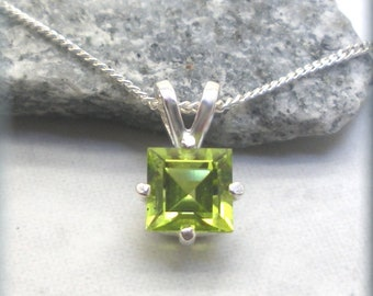 Princess Cut Peridot Necklace, Square Gemstone Pendant, Sterling Silver, August Birthstone, August Birthday Gift for Her, Peridot Pendant