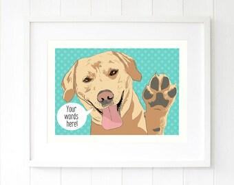 Yellow Lab pop art pet portrait Labrador Retriever wall art Personalized Labrador gift Pet gift Dog gift Personalised pet art gifts