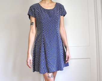 Vintage 90s GAP Blue Polka Dot Mini Skater Dress