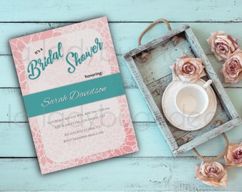 Dahlia Printable Bridal Shower Invitation, Digital Bridal Shower Invitation, Wedding Invitation