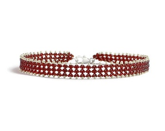 Red and Silver Beaded Anklet - Beadwork Jewelry - Seed Bead Summer Anklet - Beach Foot Jewelry - Bead Lace Anklet