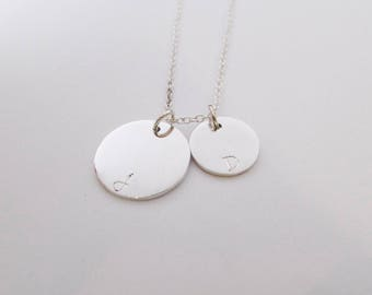 Disc necklace with initials personalized necklace engraved pendant initials necklace
