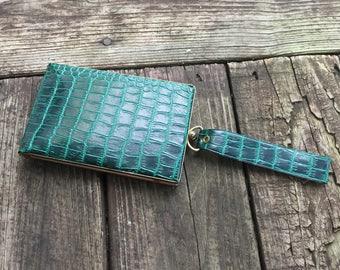 Green Faux Snakeskin Wristlet by Laurita