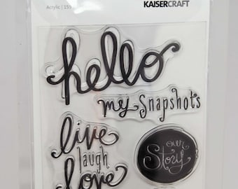 KaiserCraft Cherry Blossom Clear Stamps -- Acrylic -- Hello My Snapshots Live Laugh Love