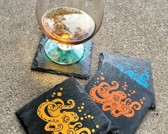 Drink Coaster Set, Octopus, Tentacles, Steampunk Decor, Square Coaster, Black Slate, Home Decor, Drink Coaster, Handmade, Vinyl Decal