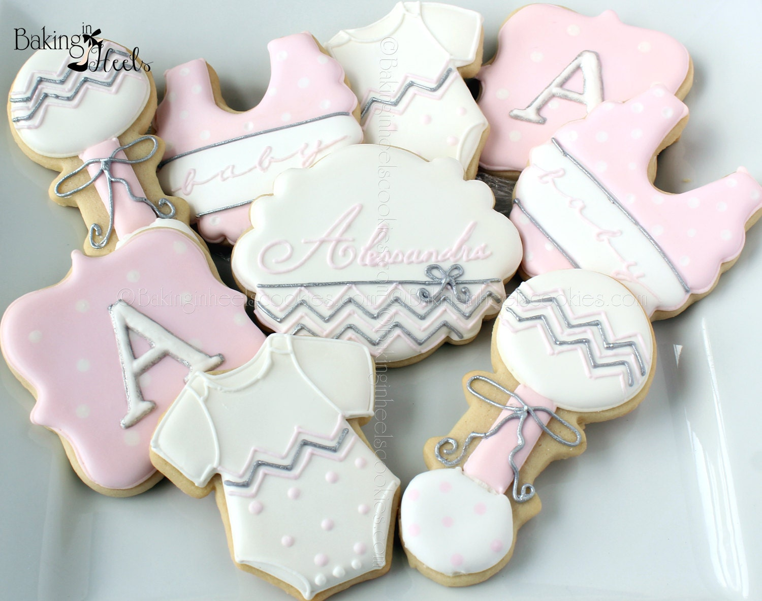 Chevron Baby Shower Cookies It S A Girl Decorated