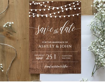 Rustic Save the Date Template, Instant Download, Wood String Lights Wedding Save the Date Printable, Fully Editable, Digital, DIY #014-101SD