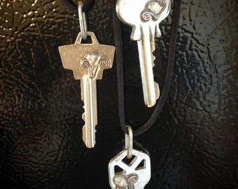 Blue Iris Rock Key Necklace