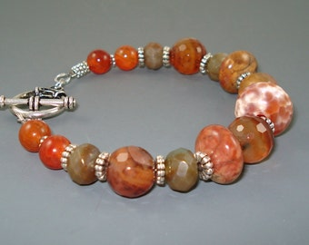 Agate Bracelet, Mix of Agate in Rust and Earthtones, Chucky Gemstone Bracelet