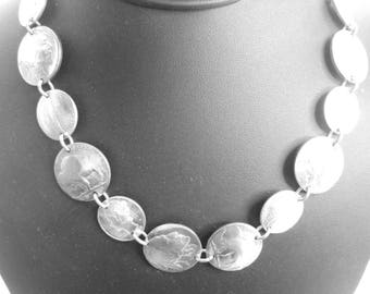 """Coin necklace~Antique nickel and dime necklace-linked coins-18"""""""