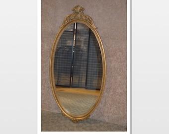 Vintage Regency Style Oval Wall Mirror