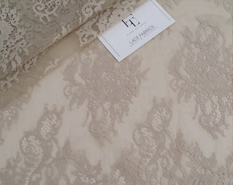 Beige lace fabric, French lace, Chantilly lace Bridal lace Wedding lace White lace Veil lace Scalloped Floral lace Lingerie lace LL50403