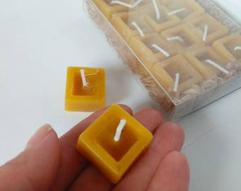 12 x Beeswax TeaLight Candles xmas 100% Pure & Natural, Candle in Jar, Set of 12 Square Cube Small Yellow Candle, Purifying Candle