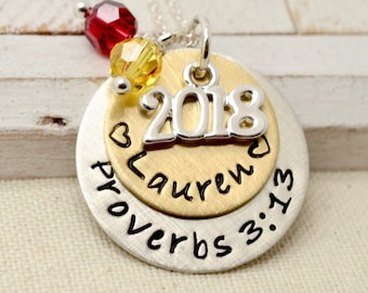 Graduation Necklace 2018 - Personalized Graduation Gift, High School College, Class of 2018, Hand Stamped Necklace