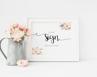 Please Sign, Printable, Instant Download, Wedding Guest Book Sign, Watercolor Flowers, Wedding Sign, Wedding Sign Printable