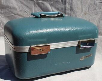 Mid Century Train Case Blue Makeup Case Vintage Monarch Overnite Case Luggage blue cosmetic case