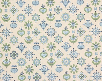 1950s Vintage Wallpaper Blue Green Floral Geoemtric by the Yard