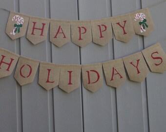 Happy Holidays, Christmas Decor, Burlap Christmas Banner, Christmas Banner, Rustic/Country Christmas, Happy Holidays Banner, Burlap Bunting