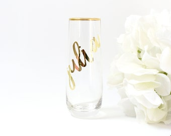 Gold Wine Glass 6ct - Brides Maid Gifts - Maid of Honor Gifts - Stemless Wine Glass - Personalized Wine Glass - Monogram Glasses