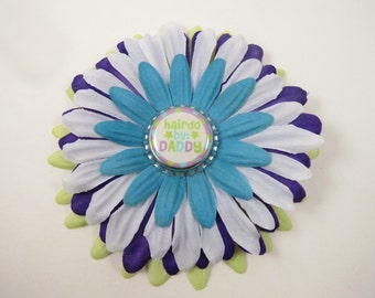 Daddy Flower Hair Bow Headband - Purple Green Blue Flower Hair Clip - Flower Headband - Daddy Did My Hair - Hairdo By Daddy Headband