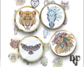 """Wild animals Digital Collage Sheet 20mm 1.25"""" 1"""" 30mm 1.5"""" bottle cap Ethnic Printable Download images for pendants Cabochons Jewelry  C026"""