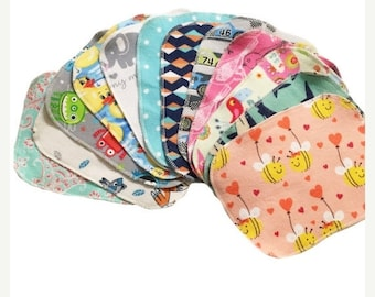 Spring Sale Sale - Mystery Set - 6x8 Sweet Bobbins Cloth Wipes Starter Set of 12 wipes -  Double Layer Flannel  - 6x8