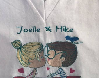 Women's embroidered shirt, Boating shirt, Kissing shirt, Personalized shirt, Embroidered Custom shirt, Personalized Custom embroidered shirt