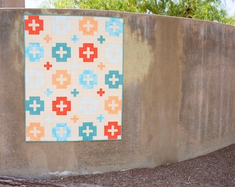 Blue, Teal, and Orange Baby Quilt - Baby Boy Quilt - Toddler Quilt