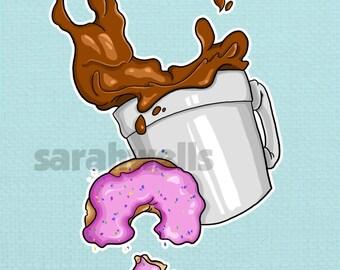 Food / Coffee / Donut / Kitchen Art / Decor / Foodie / Food Lover / Art Print / 5x7