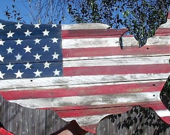 Wood American Flag Rustic Shape Of America USA Barn