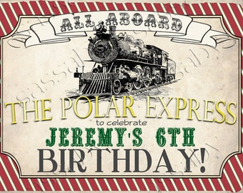 Polar Express Party Sign - Red & Green -  INSTANT DOWNLOAD - Partially Editable/Printable Birthday Christmas Poster by Sassaby Parties