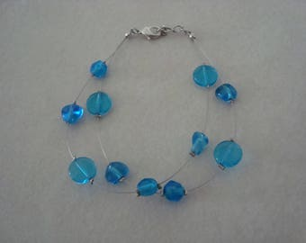 Double bracelet blue glass beads