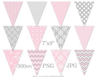 Party printables pink grey Printable bunting banner clipart Baby bunting Bunting clipart bunting clip art Party decorations DIY crafts