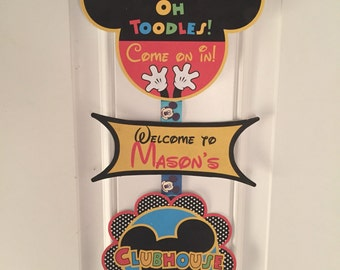 Mickey Mouse birthday, mickey birthday door sign, Mickey Mouse party, Mickey Mouse birthday decorations