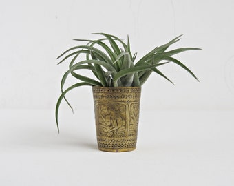 Small Brass Decorated Vase Cup Tumbler Container