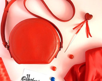 Red Messenger Bag-Red Vegan Bag-Red Eco Bag-Mini Crossbody Bag-Round Bag-Gifts For Women-Long Strap Bag-Mini Bag-Gift for her