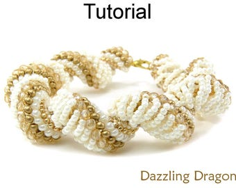 Bracelet Pattern Tutorial - Dutch Spiral Stitch - Beaded Jewelry Making - Simple Bead Patterns - Dazzling Dragon #3091