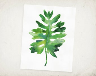Tropical Leaf Print -  Tropical Leaf Art - Watercolor Leaf Archival Print - Saddle Leaf Philodendron Print - Tropical Art