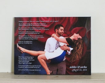 Custom Wedding Canvas, Anniversary Gift, Personalized Wedding Gift, CANVAS Art, custom photo (song lyrics, wedding vows, first dance)