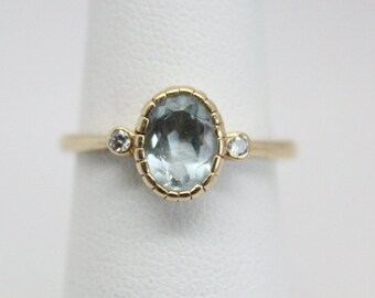 Vintage Aquamarine and Diamond 14k Gold Ring