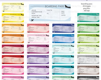 Boarding Pass Travel Information Digital Clipart - Instant download PNG files
