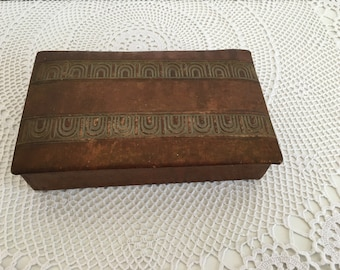Vintage Genuine Leather Box - Vintage leather box - leather box - Trinket Box - Leather Jewelry Box - Genuine Leather Box - Memory box