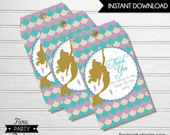 Mermaid Birthday Party PRINTABLE  Favor Tags by Fara Party Design | Mermaid Party | Favor Tags