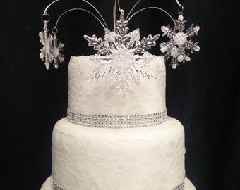 Sparkling Snowflake Cake  topper for a Winter wedding