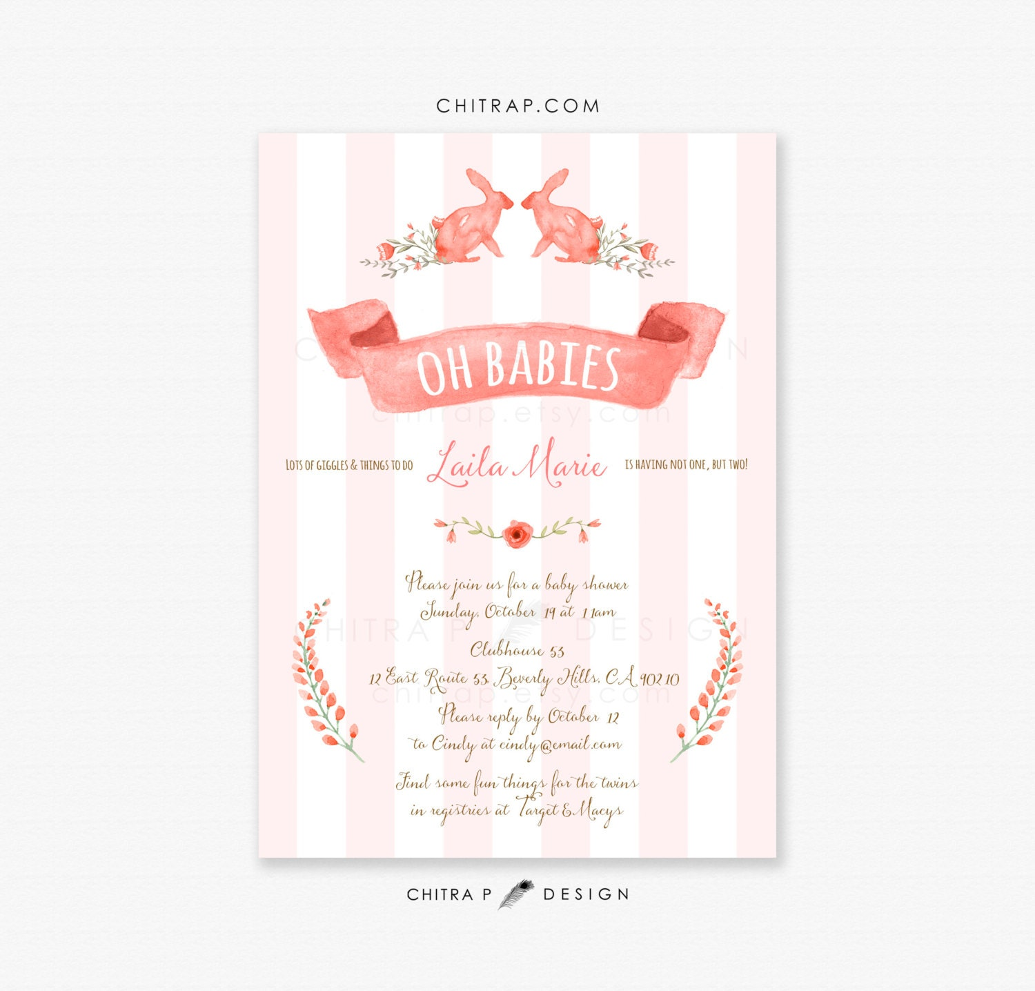 Twin Girls Baby Shower Invitations Printed Blush Pink Coral