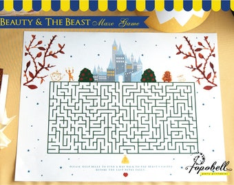 Beauty and the Beast Maze Game for Belle Birthday. Belle Game. Belle Party Game. Belle Place Mat. INSTANT DOWNLOAD Kid activity Belle Puzzle