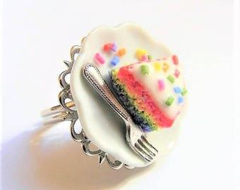 Food Jewelry Rainbow Cake Ring, Rainbow Jewelry, Rainbow Cake Jewelry, Miniature Food Ring, Mini Food Jewellery, Polymer Clay Food Gay Pride