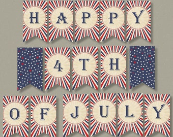 4th of July Banner | Happy Fourth of July, Flag Banner, July 4, 4th of July Printable Decor | INSTANT DOWNLOAD