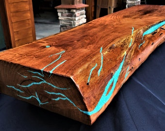 Mesquite Live Edge Fireplace Mantel/Turquoise Inlay